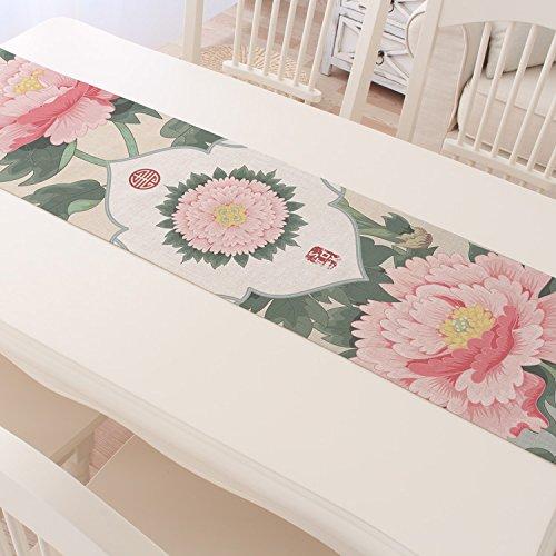 ASIBG Home Cotton linen table runner-Chinese-Asian tea tea Chinese tea table runners,Peony table runner-creative,30×160cm