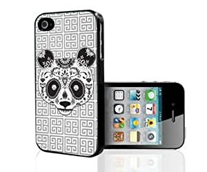 Cool Grey Pattern Background with Black and White Sugar Panda Hard Snap on Phone Case (iPhone 5/5s)