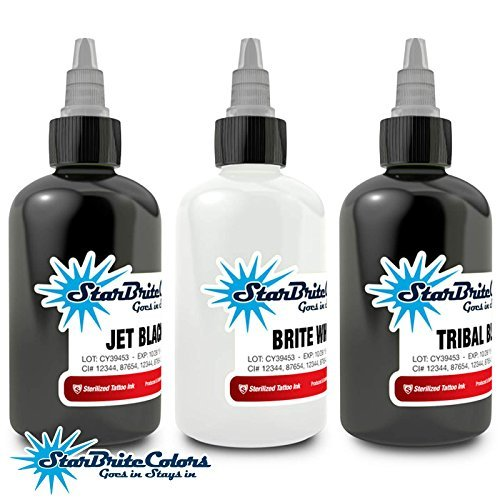Starbrite WHITE BLACK 3 SET Sterile Tattoo Ink 1/2 OZ Starbright by Star Brite ()