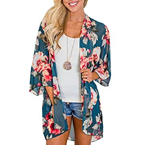 LYHNMW Women's 3/4 Sleeve Floral Kimono Cardigan, Sheer Loose Shawl Capes, Chiffon Beach Cover-Up, Casual Blouse