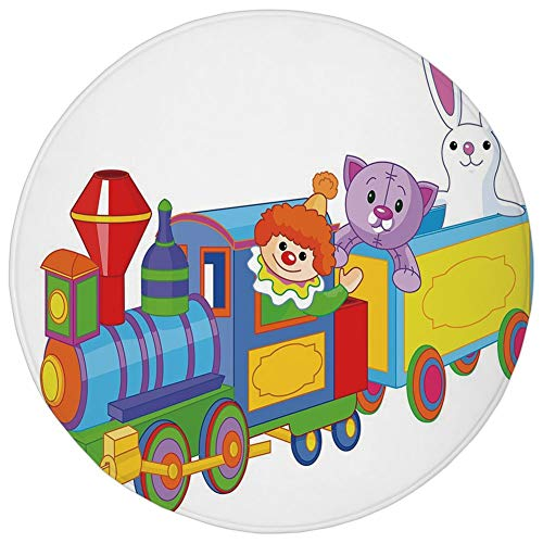 Round Rug Mat Carpet,Nursery,Clown Cat and Bunny Sitting in The Train Kids Toys Cartoon Style Funny Cheerful,Multicolor,Flannel Microfiber Non-Slip Soft Absorbent,for Kitchen Floor Bathroom -