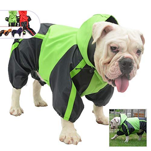 Lovelonglong American Bully Pitbull Dog Hooded Raincoat, Bulldog Rain Jacket Poncho Waterproof Clothes with Hood Breathable 4 Feet Four Legs Rain Coats for Pugs English French Bulldog Green B-S