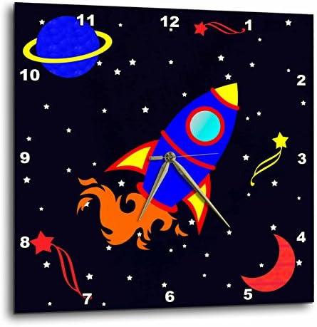 3dRose DPP_12156_2 Cute Blue Boy Cute Rocket Ship in Space Wall Clock, 13 by 13-Inch