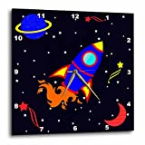 Cheap 3dRose Janna Salak Designs Cute Blue Boy Cute Rocket Ship in Space Wall Clock, 10 by 10-Inch