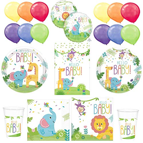 Fisher Priceª Hello Baby Shower Kit: Plates, Napkins, Tablecloth, Cups, a Foil Balloon and a Package of Balloons - Unisex, Boy or Girl]()