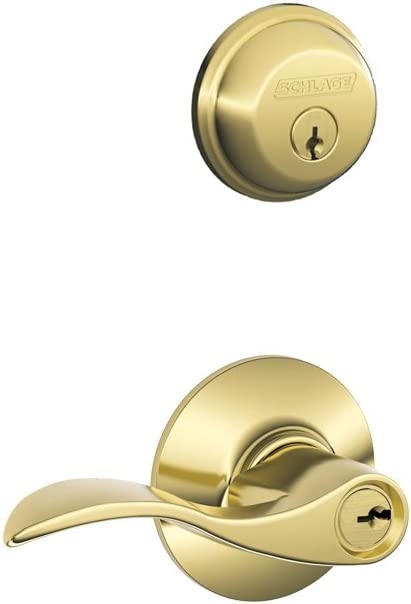 Schlage FB50N V Acc 505 B60 Single Cylinder deadbolt and F51 keyed Entry Accent Lever keyed Alike, Bright Brass Finish