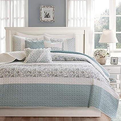 Amazon Com Hnu 6 Piece King Coverlet Set Blue Cotton Shabby Chic