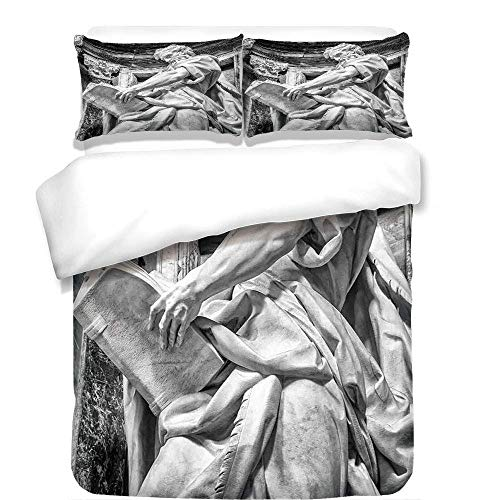 Yaoni 3Pcs Duvet Cover Set,Sculptures Decor,Statue of St. Matthew at The Basilica of St. John Lateran in Rome Cthedra with Pillars,Bronze,Best Bedding Gifts for Family/Friends