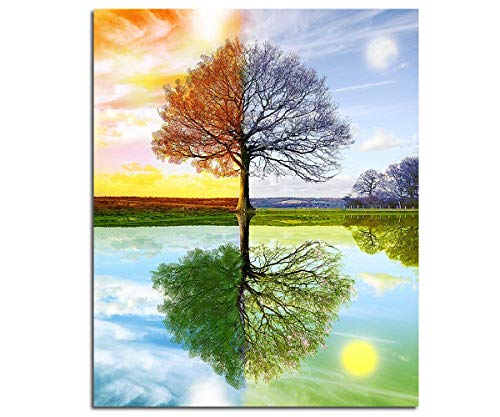 Mobicus 5D DIY Diamond Painting,by Number Kits Crafts & Sewing Cross Stitch,Wall Stickers for Living Room Decoration,Four Seasons Tree(30X40CM/12X16inch)