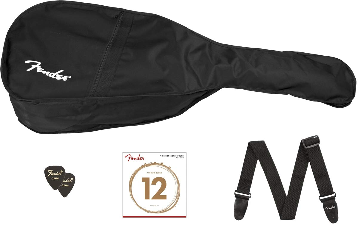 Fender CC-60S Beginner Concert Pack, Black with Gig Bag, Strap, Picks, Strings, and Fender Play by Fender