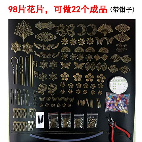 DIY Handmade Costume han Chinese Clothing Chinese Classical Antiquity Cosplay Hair pins Hair Accessories Step Shake Material Package Novice (Bronze Value Package with Pliers get 10 Grid stor