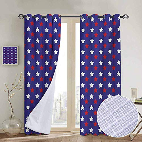 Jinguizi Heavy Curtains for Bedroom USA,United States of America Theme Federal Holiday Celebration Revolution Design,Dark Blue Red White Darkening Noise Reducing Backtab Window Panel 96 x L96 Inch