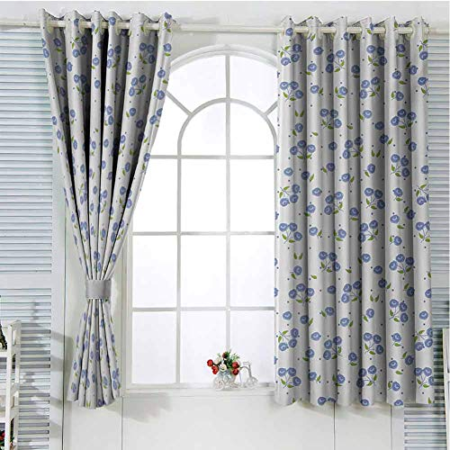 Floral Patio Door Curtains for Bedroom Vintage Rose Flowers Bouquets Spring Season Theme Dots Green Leaves Thermal Insulated Noise Reducing W107 x L107 Inch Violet Blue Green White (External Doors Patio Oak)