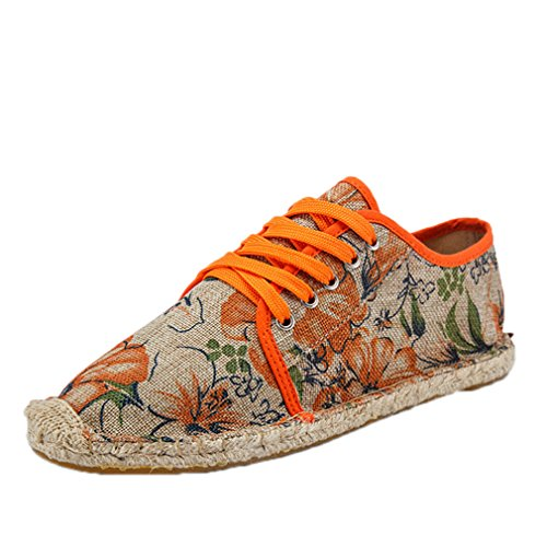 HBBCBB Hemp Rope Mens Shoes Summer Lace Up Espadrilles Canvas Shoes Loafers Moccasins Yellow 8.5 ()