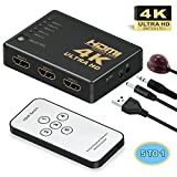HDMI Switch, GANA Intelligent 5-Port HDMI Switch, Supports 4K, Full HD1080p, 3D with IR Remote
