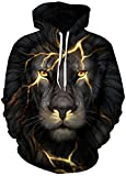 FLYCHEN Men's Digital Print Sweatshirts Hooded Top Galaxy Pattern Hoodie L/XL Black Flash Lion