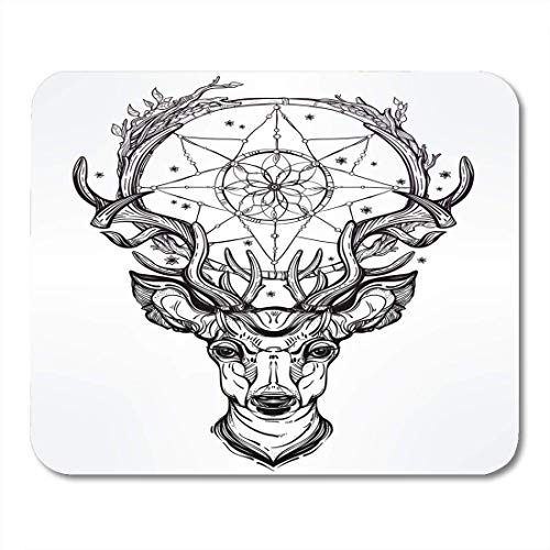 Price comparison product image Mouse Pads Mystic Black Animal Deer Head and Dream Catcher White Boho Tattoo Mouse Pad
