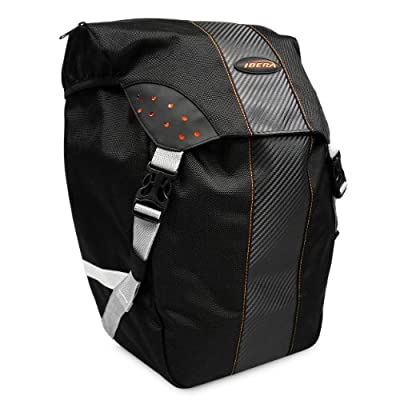 Ibera Bicycle PakRak Clip-On Quick-Release All Weather Single Pannier with Rain Cover