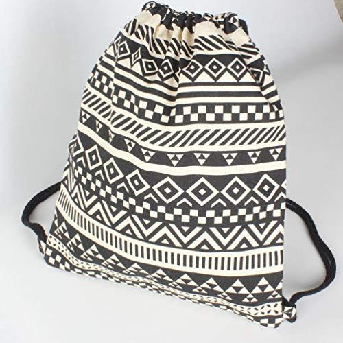 Bag NEWONESUN Drawstring Women Ethnic Bag Black by Pocket Backpack Student Canvas Wind vvqfag8F