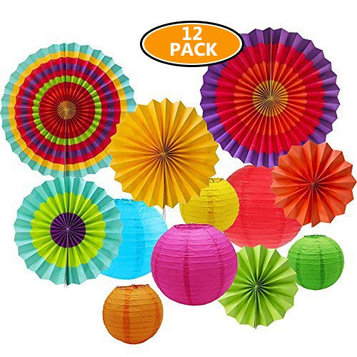 Sonnis 12pcs Hanging Fiesta Paper Fan Lanterns Decoration, Mexican Fiesta/Carnival/Kids Party/Birthday/Christmas Decor,Party/Events Decor, Home Decor Supplies Flavor Colorful-01