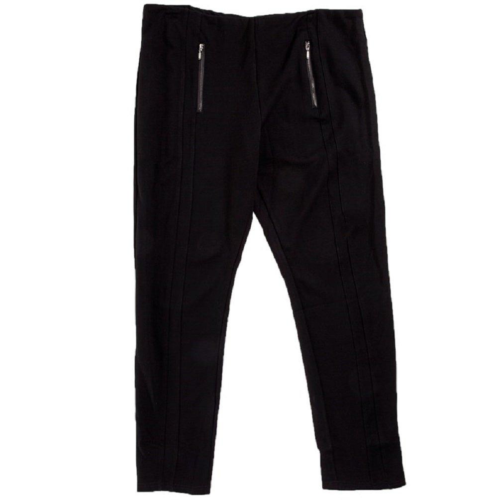 Classic Concepts Women's Plus Ponte Pants Zipper Detail, Black (2X)