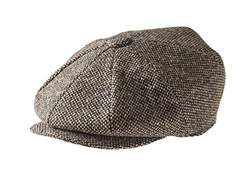Peaky Blinders Men's 8 Piece 'Newsboy' Style Flat Cap Wool (Small (55 cm), Brown Bird's ()