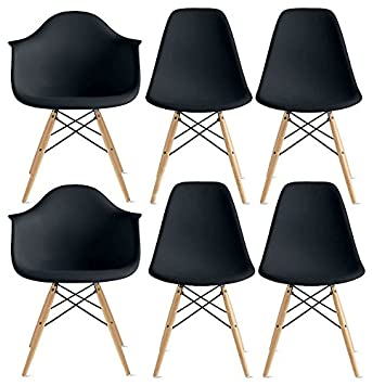 2xhome – Set of Six 6 Black – Arm Chair Side Ray Chair Molded Plastic Shell Bedroom Dining Side Ray Chair with Brown Wood Eiffel Dowel-Legs