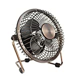 Small Desk Fan, Quiet USB Mini Retro Metal Personal Desk Table Fan with 3.9 Feet USB Cable Great for Office Room Desktop (4 inches, Bronze)