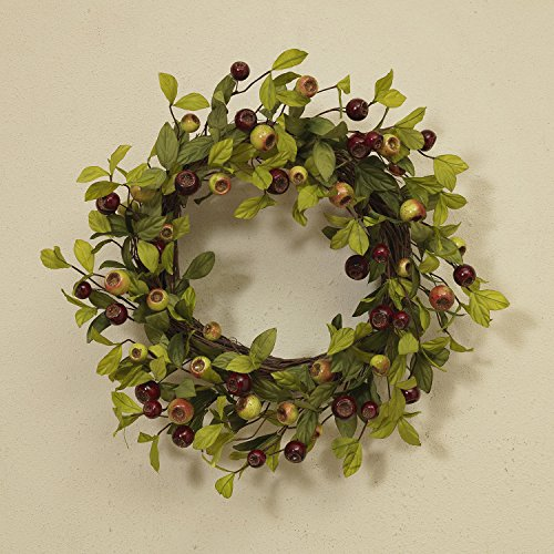 22 Inch Artificial Green and Red Crabapple Wreath on a Natural Twig (Natural Twig Base)