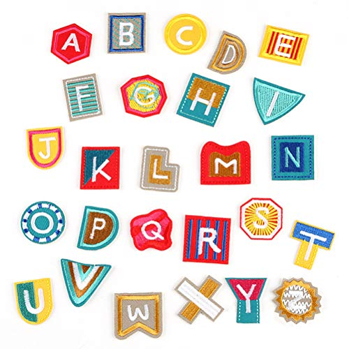 Ziitai 2 Set Alphabet A-Z 26 Pcs DIY Embroidered Letter Patches, Iron-On Patch Applique Patches for Jackets Clothing Bags DIY Crafts ()