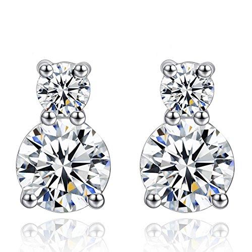 sterling silver earrings_ wedding jewelry bride bridal earrings gifts_cubic zirconia earrings_women earrings