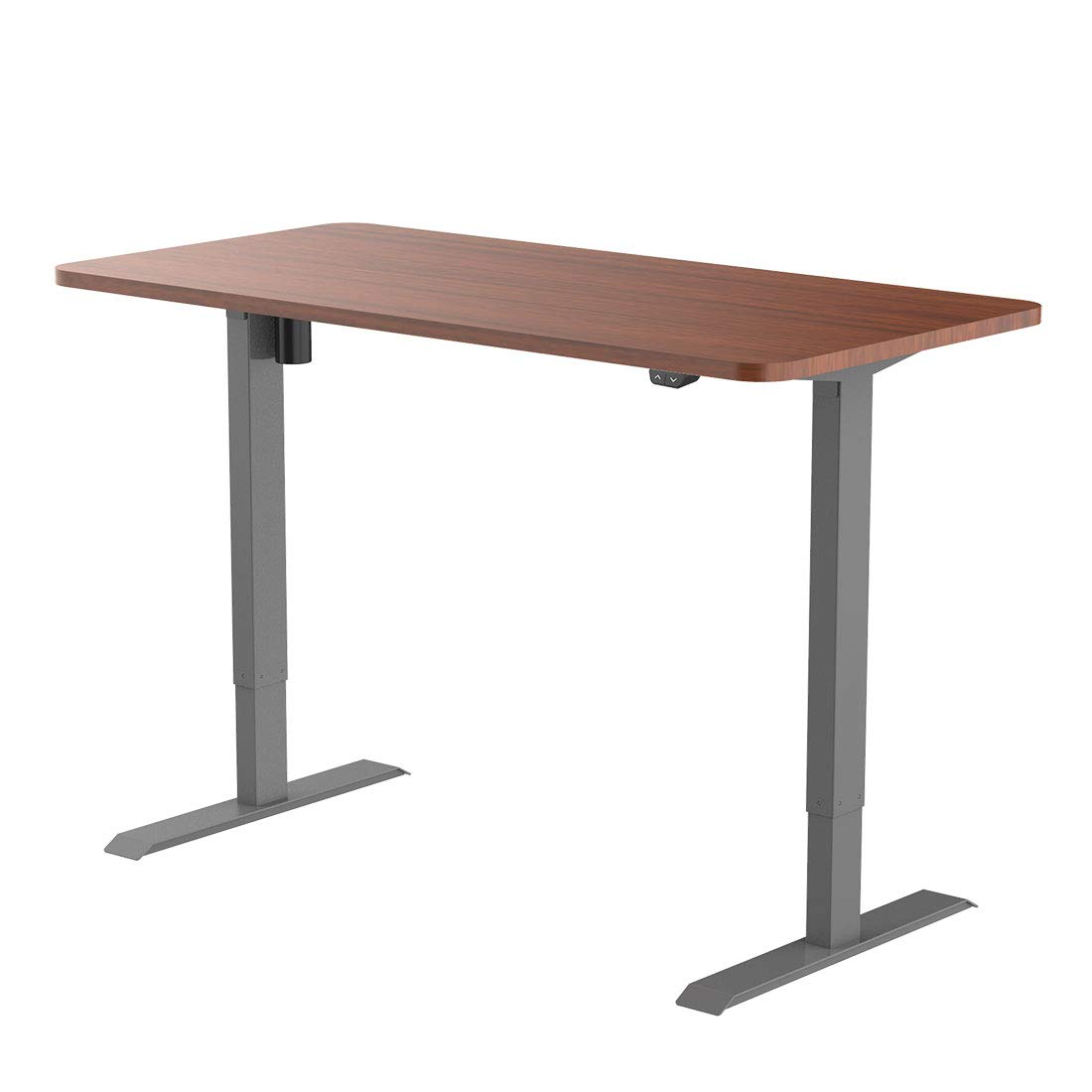 Flexispot EC1S-R4830N Electric Height Adjustable Desk Sit Stand Desk Base Home Office Table Stand up Desk(Gray Frame + 48 in Mahogany Top)