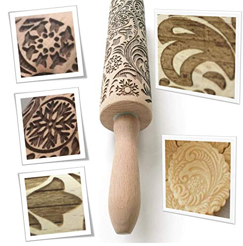 """Paisley Embossed Rolling Pin 16"""" Engraved Rolling Pin for Baking + Cute and Lightweight Wooden Rolling Pin for Kids and Adults to Make Cookie Dough - Attractive Professional Cookie Decoration"""
