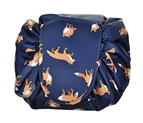 Portable Drawstring Cosmetic Bag Large Capacity Lazy Travel Makeup Pouch magic Toiletry Bag for Womens Girls,Dark Blue Fox