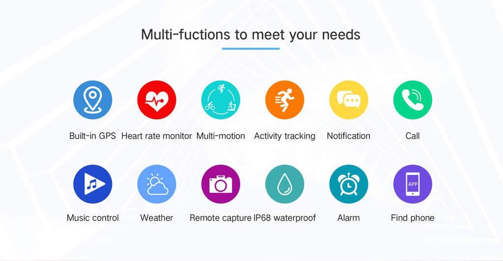 YNAA for iOS Android, Waterproof Sport Smart Watch, Smart Bracelet Blood Pressure Heart Rate Monitoring Tracker GPS Watch (Gray) by YNAA (Image #5)