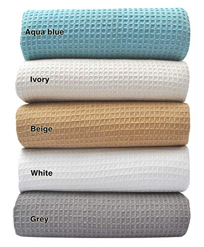Tex Trend 100% Cotton Blankets King Size, Beige Color - Soft Premium Right Weight Breathable Cotton Thermal Blankets Waffle Weave Design - Provides Comfort and Warmth for Years