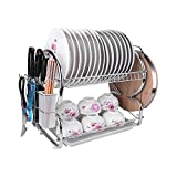 2-Tier Dish Rack Stainless Steel Dish Drying Rack Kitchen Storage Organization 17x10x15 Inches