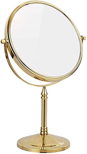 8 Inch Double Sided Standing Makeup Mirrors,Magnification Regular Professional 360 Rotating Brass Vanity Mirrors Cosmetic Polished,Gold,10X