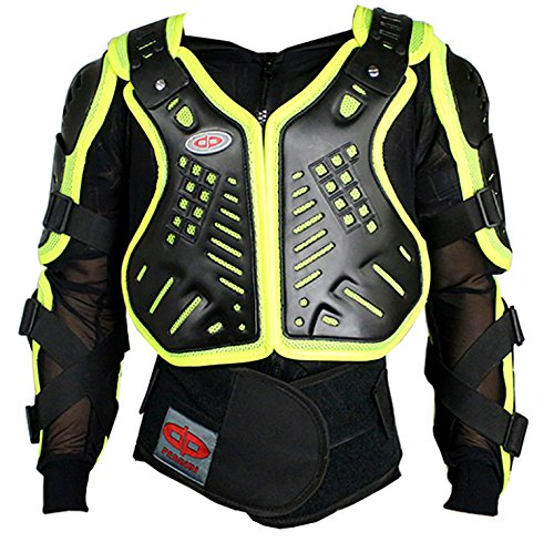 Perrini Green CE Approved Full Body Armor Motorcycle Jacket Night Visibility (XL) (Field Of Armor)