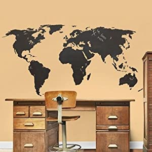 Chalkboard Large World Map Vinyl Adhesive Wall Sticker   Wall Clings,  Tattoos, Graphics, Decals And Art For Home Decor And Kids And Adults  Bedrooms