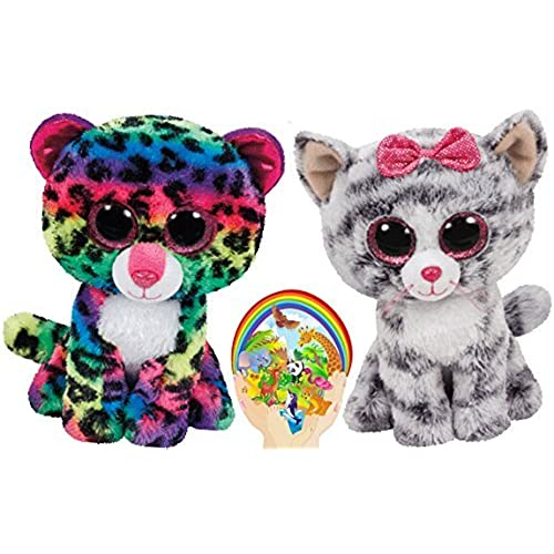 Ty Beanie Boos Kiki Grey Cat and Multicolor Leopard Dotty Meow Friends Gift set of 2 Plush Toys 6-8 inches tall with Bonus Animals Sticker
