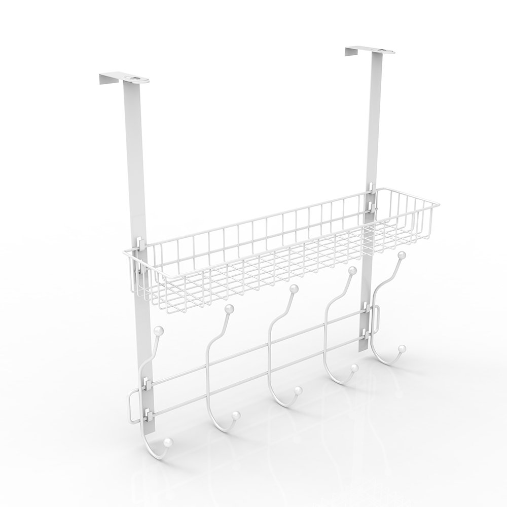 NEX Over-The-Door Hook Shelf Organizer 5 Hooks With Basket Storage Rack, Fit Well At Home & Office, White