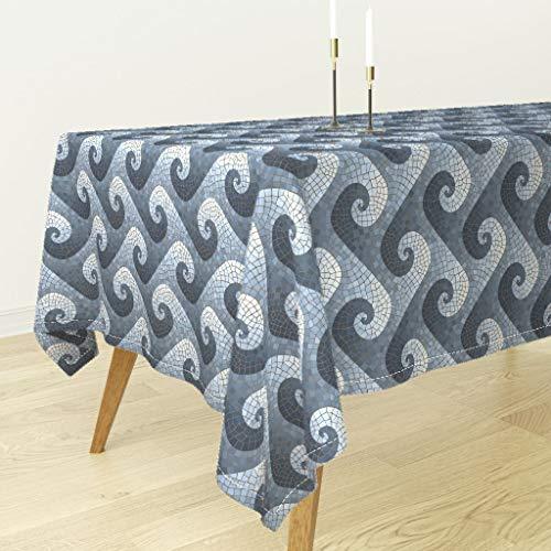 Mosaic Wave Tablecloth - Blue Beach Mosaic Wave Home Decor Wave Mosaic Spiralwave Blue Roman Bath Geometric Modern Home by Weavingmajor - Cotton Sateen Tablecloth 70 x 108