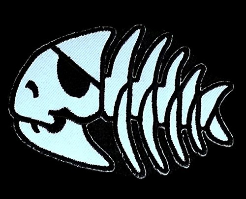 3.5 x 2.5 inches.Fish Skull Pirate Bone Skeleton Patch Embroidered DIY Patches, Cute Applique Sew Iron on Kids Craft Patch for Bags Jackets Jeans - Canada To Does Ship Usps