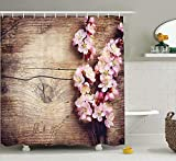 KANATSIU On Wooden Table Romantic Natural Farmhouse Style Home Decoration Print Shower Curtain 12 Plactic Hooks,100% Made Polyester,Mildew Resistant & Machine Washable,Width x Height is 60x72