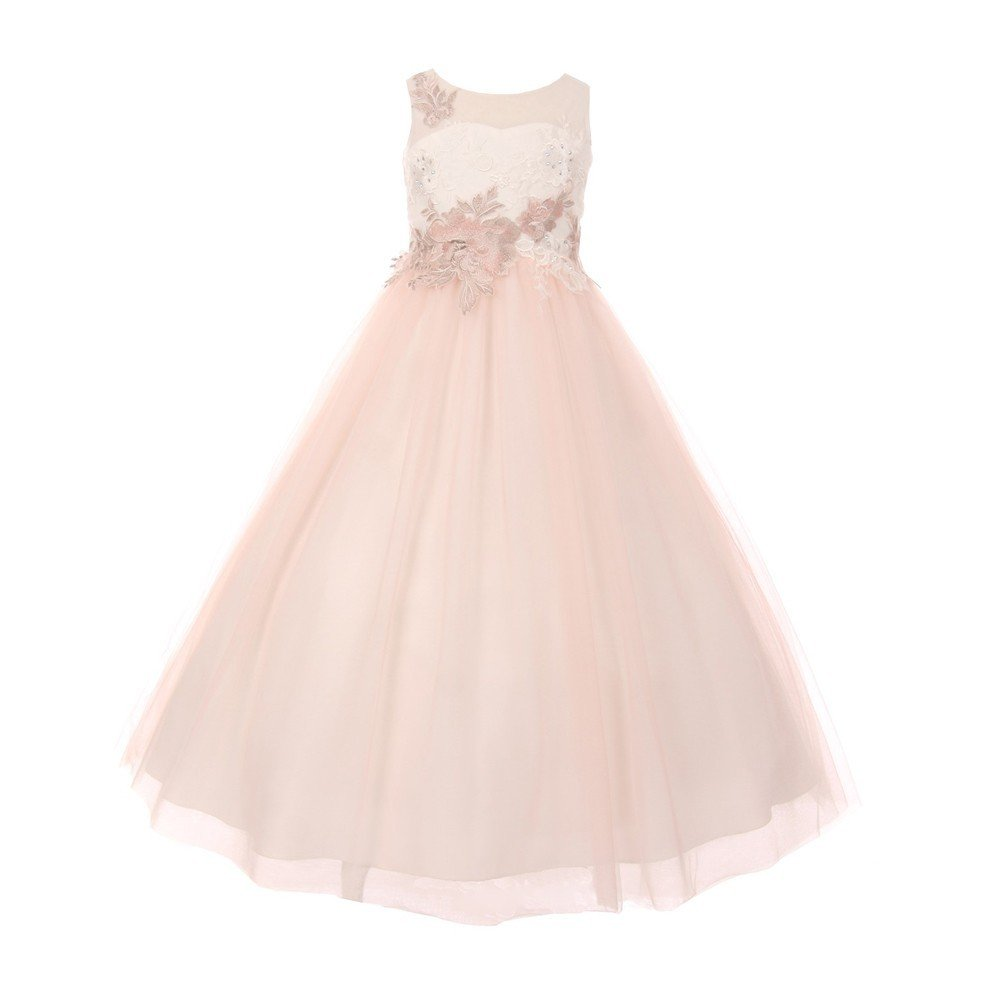 Cinderella Couture Big Girls Ivory Rose AB Rhinestone Adorned A-Line Junior Bridesmaid Dress 16