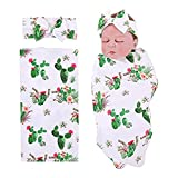 PROBABY Newborn Baby Swaddle Blanket Cactus and Llama Print with Headband,Receiving Blankets for Baby (One Size, B)