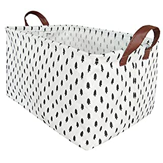 BOOHIT Rectangular Storage Basket,Nursery Hamper Canvas Fabric Toy Storage Organizer Bin,Waterproof Storage Box,Laundry Basket for Kid Rooms,Playroom,Shelves,Toy Basket,Gift Basket (Tree)
