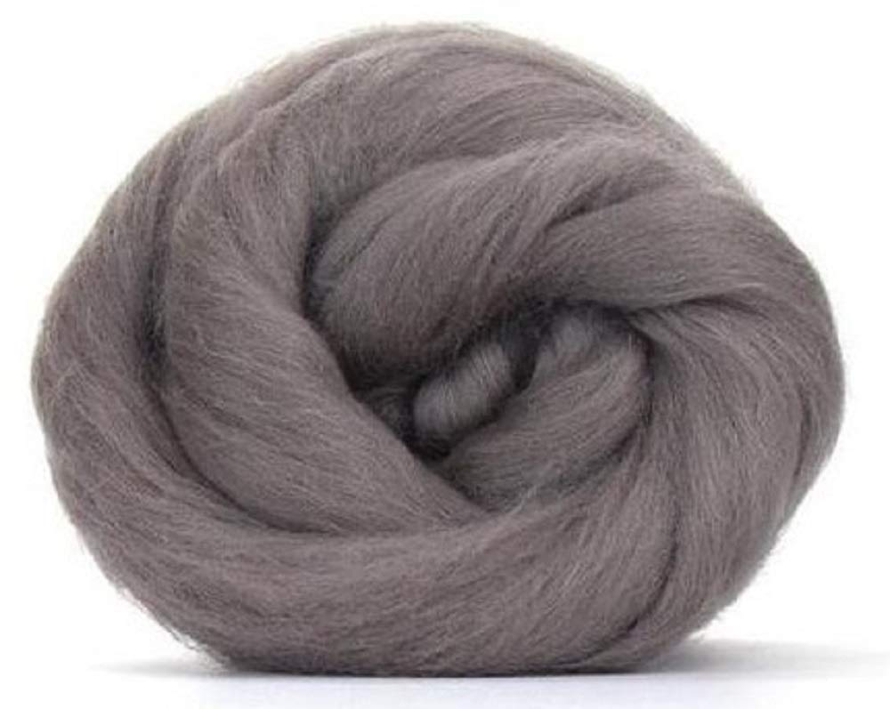 4 oz Paradise Fibers 64 Count Dyed Pewter (Gray) Merino Top Spinning Fiber Luxuriously Soft Wool Top Roving for Spinning with Spindle or Wheel, Felting, Blending and Weaving