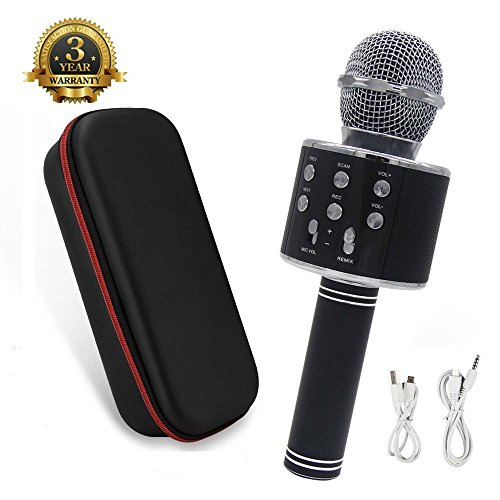 Wireless Portable Karaoke (Wireless Portable Karaoke Microphone - 2018 New design Instagram 5000+Likes Bluetooth Karaoke Microphone/Handheld Cellphone Karaoke Player for iPhone or Android Smartphone & PC (Black))